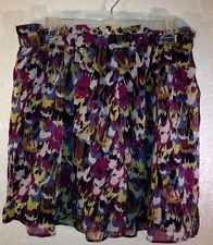 Dalia Collection Skirt 10 Women Black Multicolor Lined Shear Belt Loop Paint