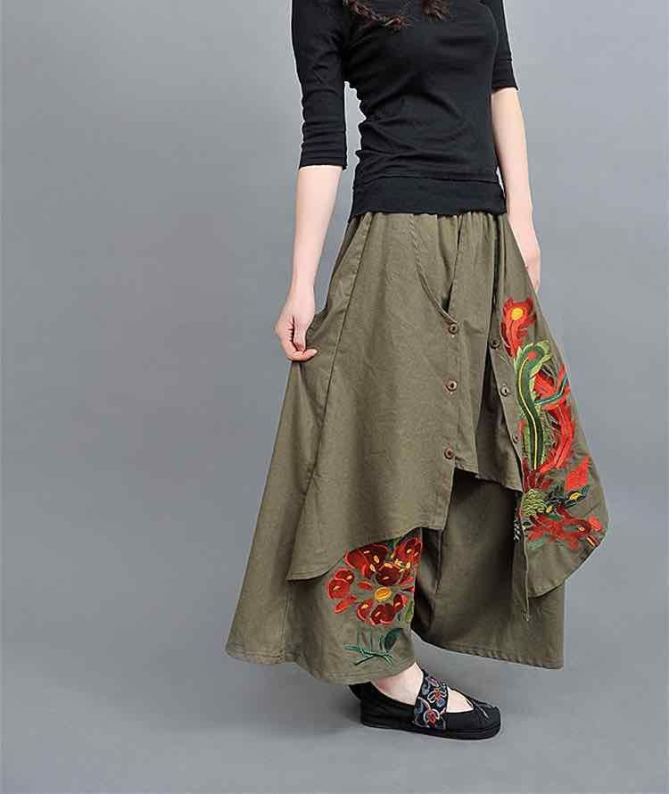 womens skirt OOAK vintage floral ladies large cotton skirt summer skirt autun tones skirt