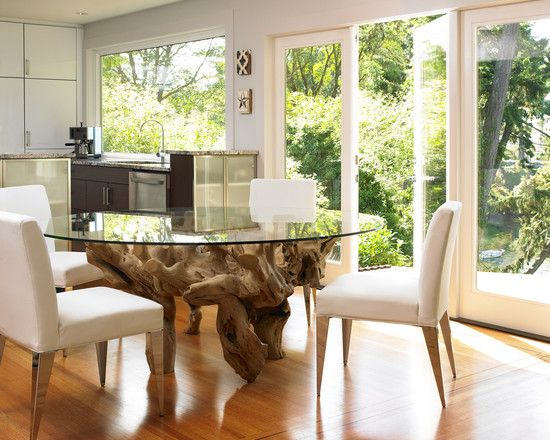 Using Gl Top Dining Table Bases Makes Gorgeous Your Room Modern With White Chairs Large Windows Woo