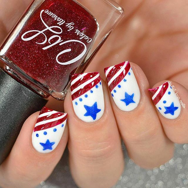 Fourth Of July Nail Art Stars And Stripes Design 4th