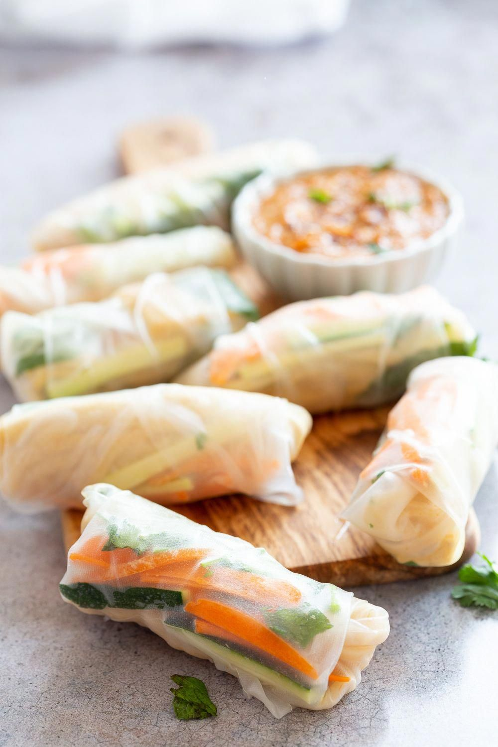 Easy Vegan Fresh Spring Rolls with Peanut Sauce. Rice paper Fresh Rolls with Marinated Tofu and Quick Peanut Dipping Sauce. Glutenfree Can be Nutfree with Sunbutter or Sweet Chili sauce.