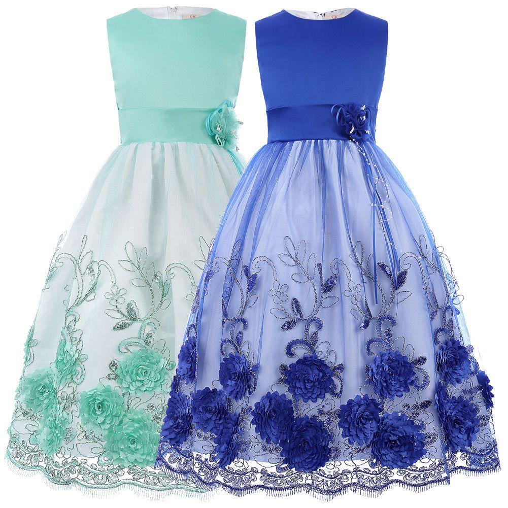 Party Sleeveless Kids Blue Flower Girls Dress - Age 2 3 4 5 6 7 8 9 ...
