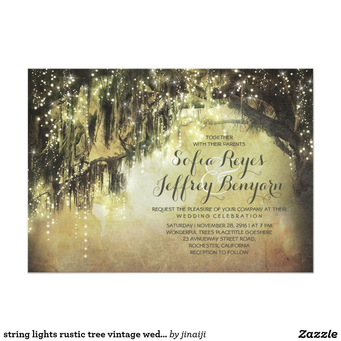 String lights rustic tree vintage wedding invites Trees