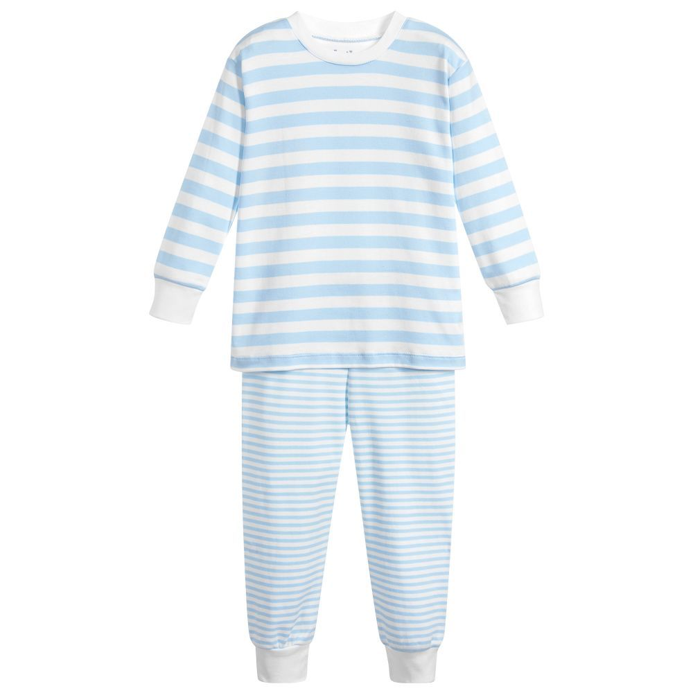 1a25ad63712e Pale blue and white striped pyjamas by Kissy Kissy for boys. They ...