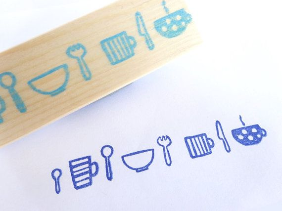 Dish stamp Fork knife and spoon Mug and by JapaneseRubberStamps, £10.00
