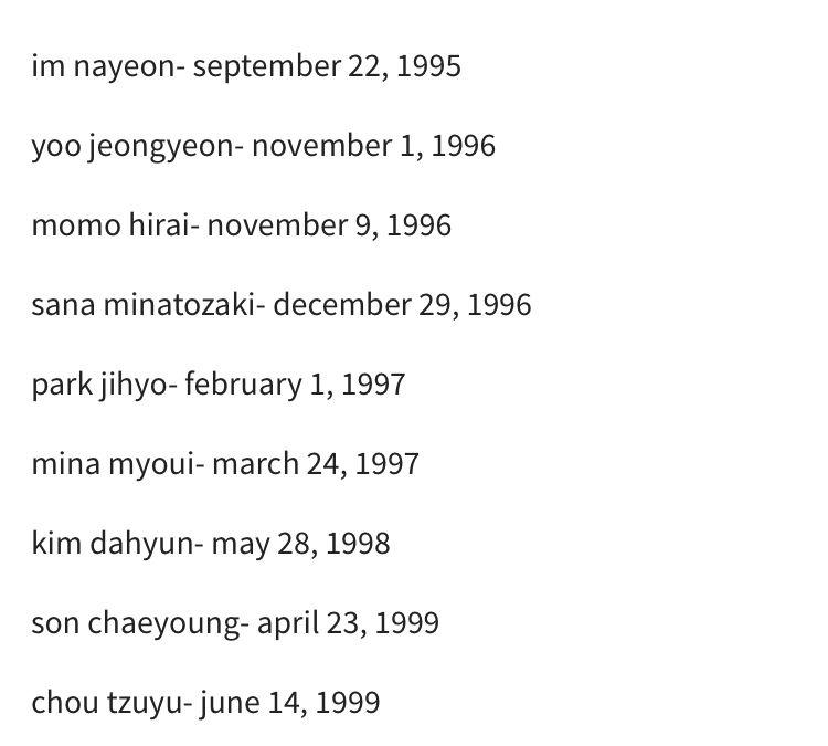 Birthday In 2020 April 23rd Nayeon September 22