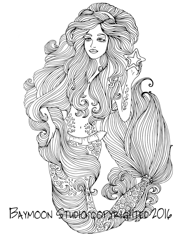Sirena con página para colorear de estrellas de por BAYMOONSTUDIO ...