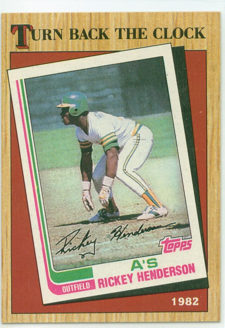 1987 Topps Turn Back The Clock Rickey Henderson Baseball Cards