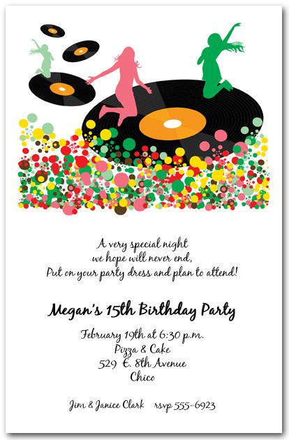 Spin the vinyl records party invitations from theinvitationshop spin the vinyl records party invitations are perfect for teenage birthday party invitations concert invitations music theme invitations slumber party filmwisefo Choice Image