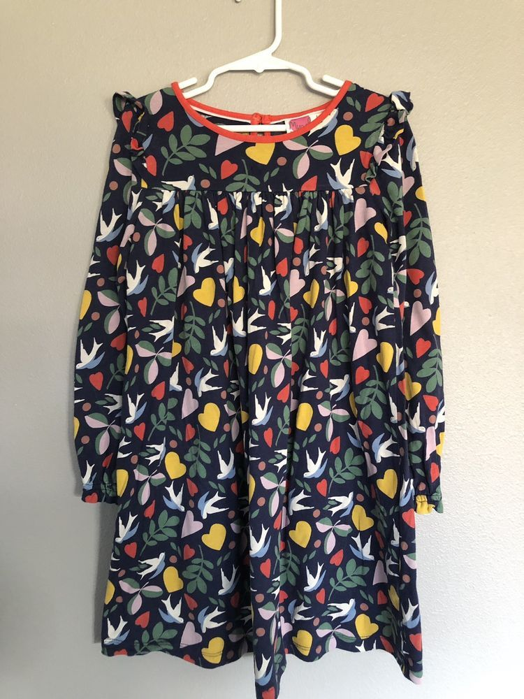 5a7a378b8 Mini Boden Dove Festive Print Cotton Dress Girls Size 7 8 not To ...