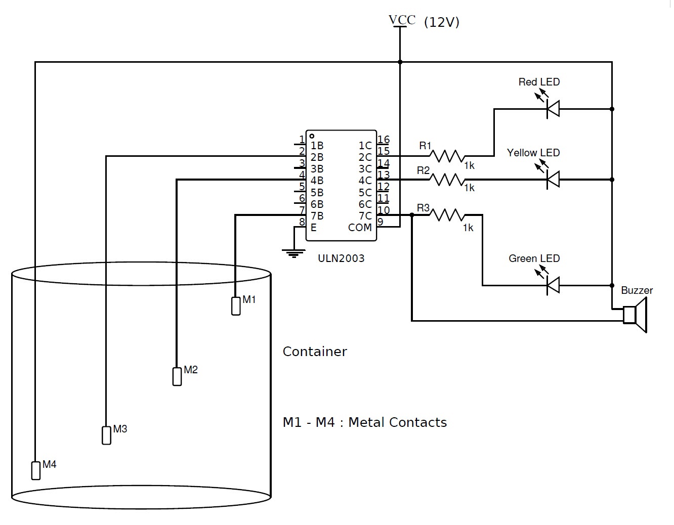simple water level indicator with alarm 3 tested circuits in 2019 water level sensor detector monitor with alarm circuit schematic [ 1332 x 1038 Pixel ]