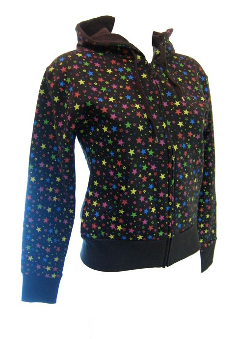 Ladies Multi Star Hooded Top.   A 100% cotton black hoody with hundreds of little multi coloured stars all over it. The hood is lined with black cotton and the inside body has a nice soft fleece feel. This hoody looks great with everything, so is very adaptable and will complement whatever you are wearing. Available in 3 sizes; S - UK size 8-10 M - UK size 10-12 L -UK size 12-14