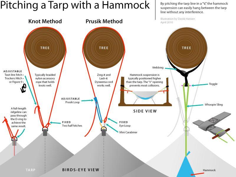 Good How To Set Up A Camping Hammock Tarp: Illustration