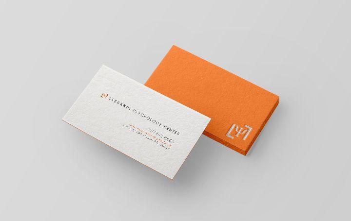 This Orange Letterpress Business Card Was Designed For The Llerandi Psychology Center Business Card Inspiration Letterpress Business Cards Google Business Card