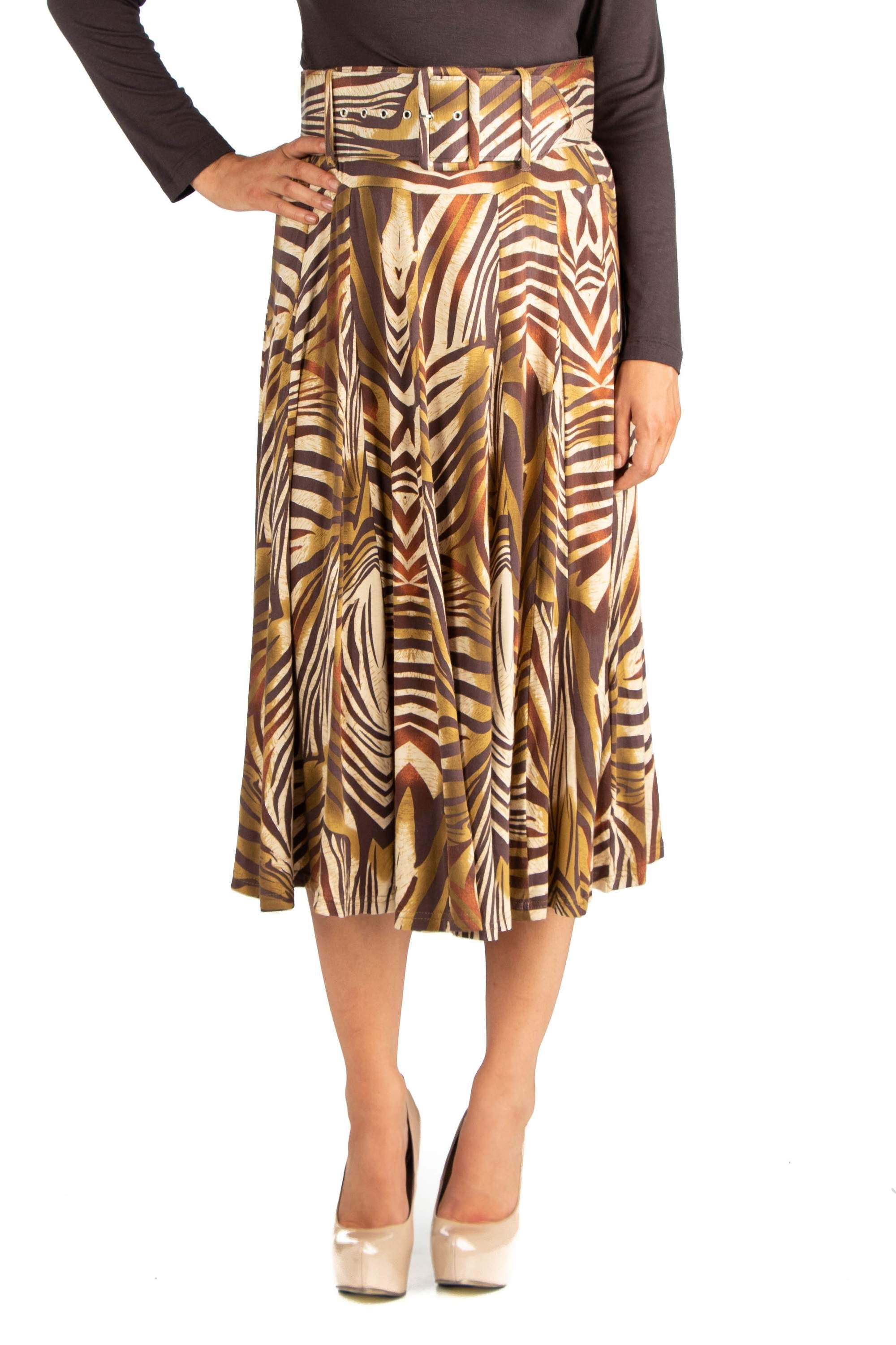 d6a5015bf6 24seven Comfort Apparel Womens Animal Print Belted Midi Skirt#Apparel,  #Womens, #