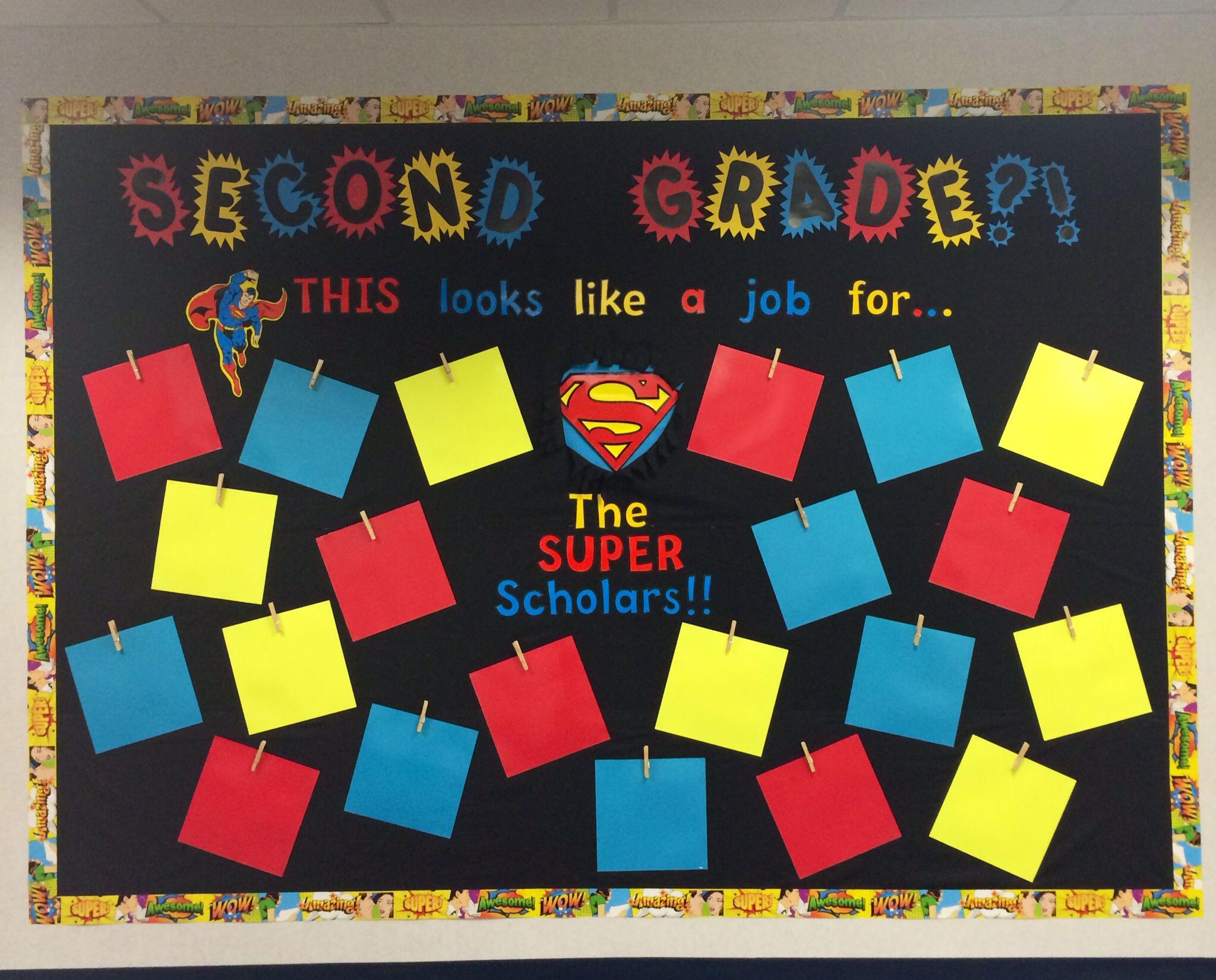 My superman themed hallway bulletin board the 2nd grade for Theme board ideas