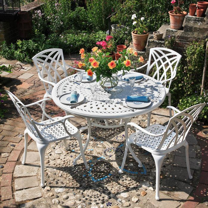 White Alice 4 Seater Cast Aluminium Gar