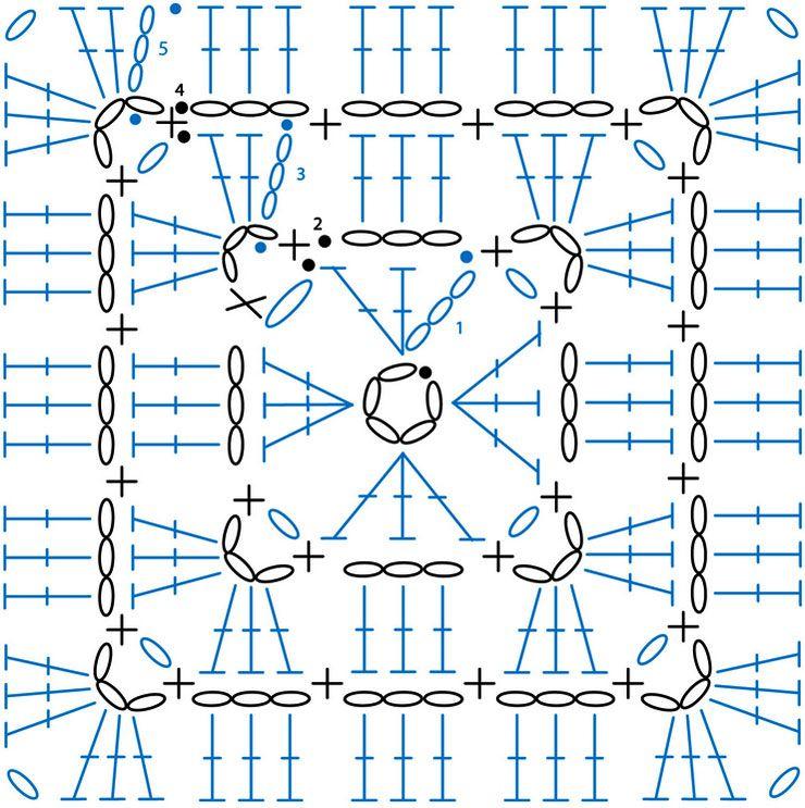 Granny Square pattern Ardith / 그래니 사각모티브 무료도안 | C ...