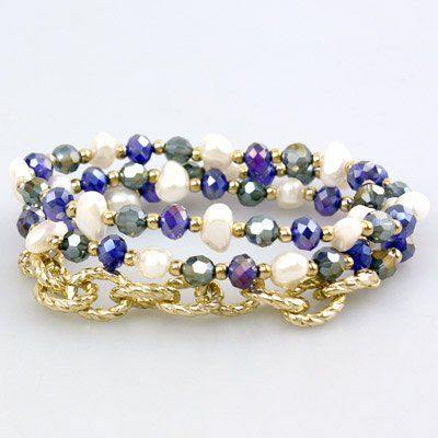 """Amazon.com: Royal Blue, Light Blue and White Beaded Wrap Bracelet with Gold Chain. 21"""" Round. Stretch.: Jewelry"""