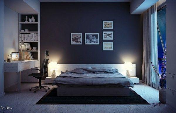 Chambre coucher sombre avec bureau travail g déco