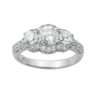 100 Facets by DiamonArt® Sterling Silver 3-Stone Cubic Zirconia Cocktail Ring  found at @JCPenney