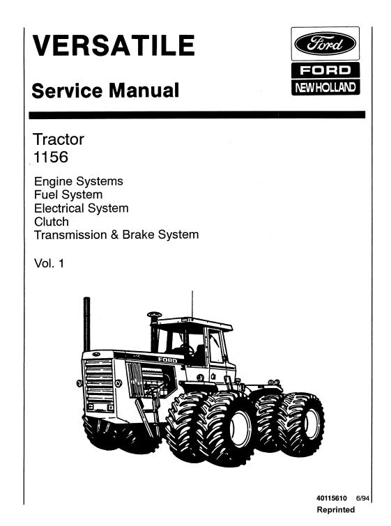 Ford Versatile 1156 Tractor Service Manual New Holland Tractors Repair Manuals