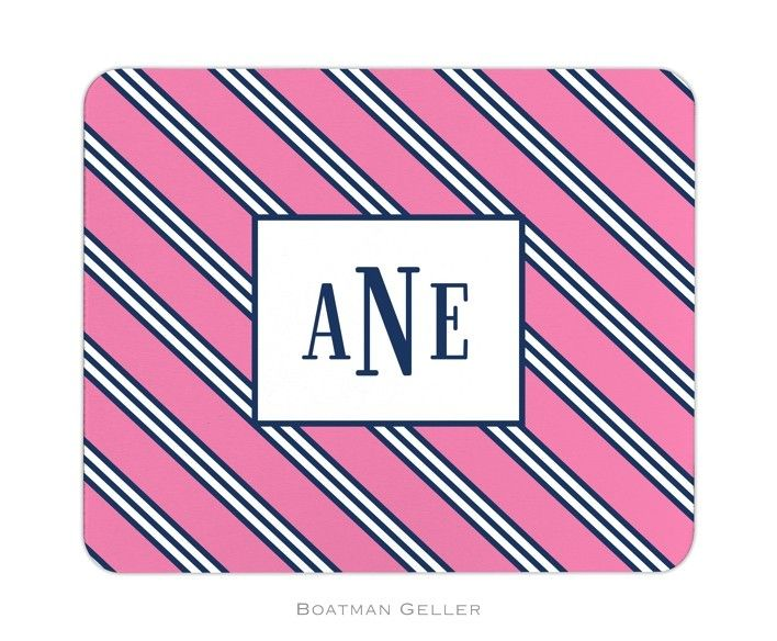 Pea Pod Paper And Gifts Repp Tie Pink Navy Personalized Mouse Pad Trendy Accessories