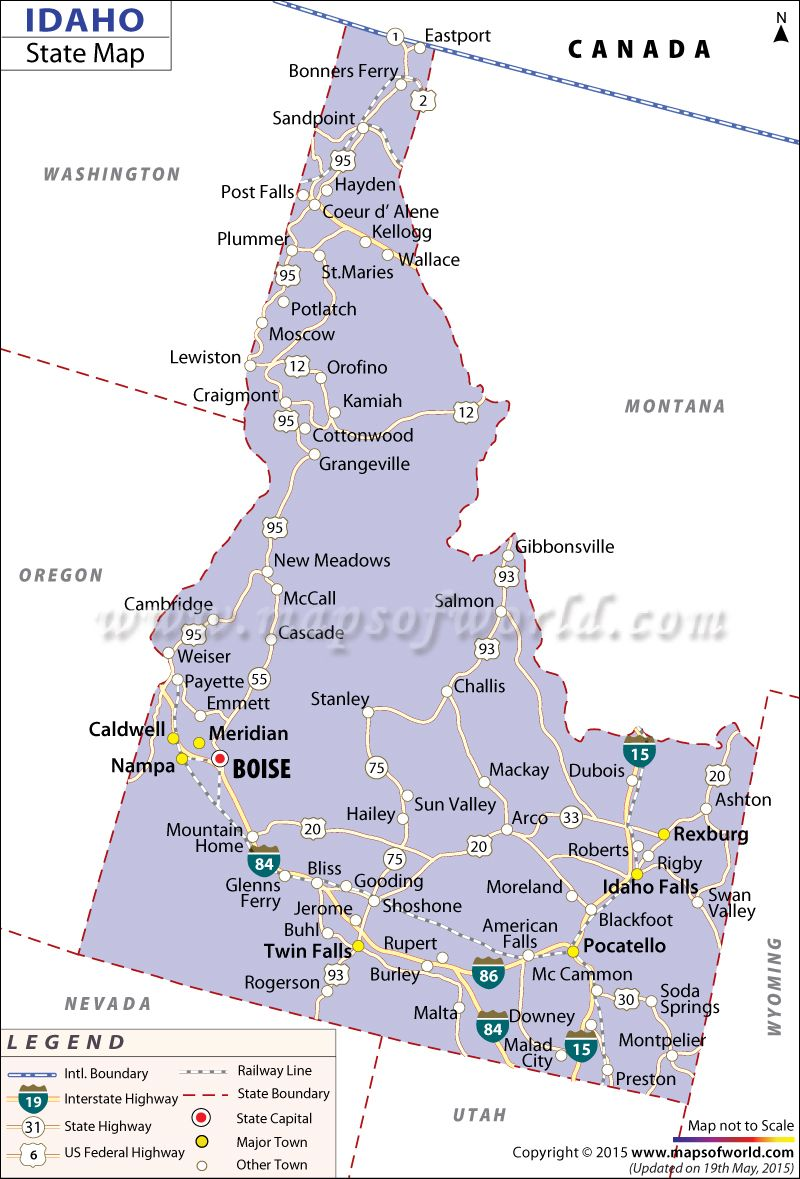 State Map of Idaho | Idaho in 2018 | Pinterest | Idaho, Map and ...