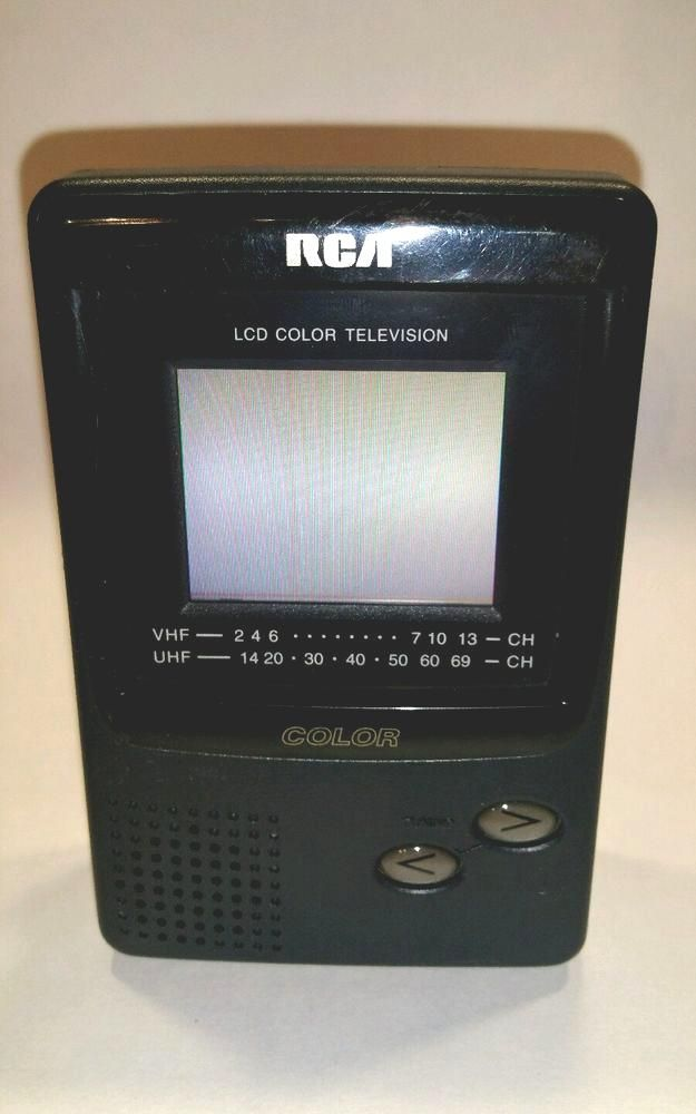 vintage rca handheld mobile tv 16-3053 lcd color television uhf ...