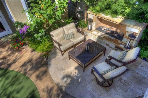 Low Fireplace Small Yard Landscaping Z Freedman Landscape Design ...
