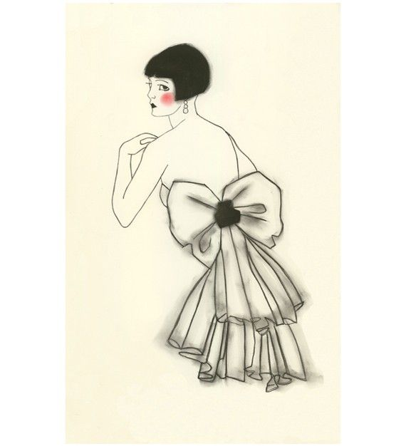 Art Deco fashion drawing - Isabella - 4 X 6 print - 4 for 3