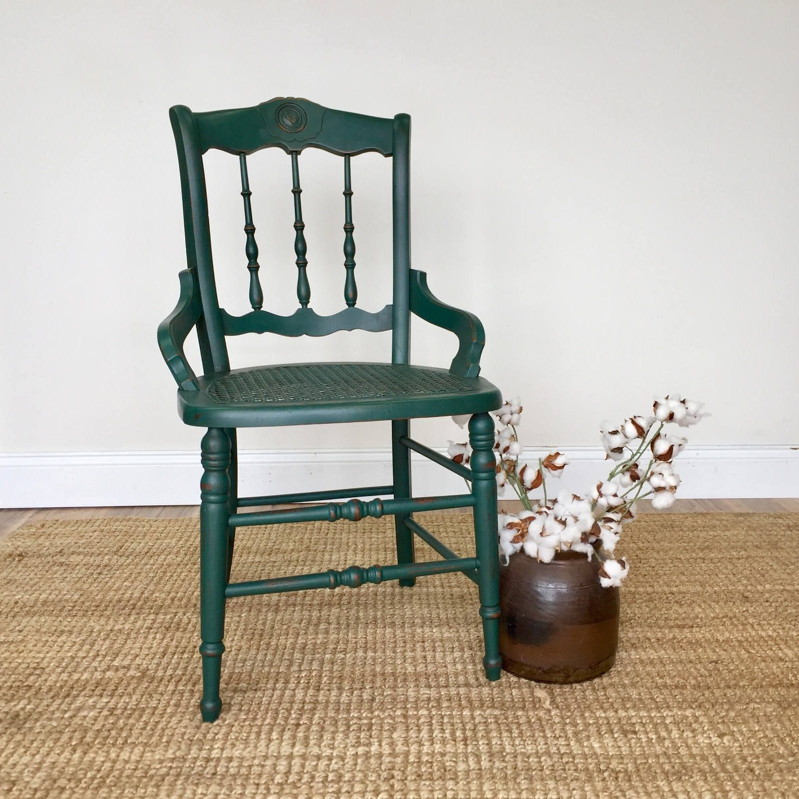 Emerald Green Chair Antique Wood Chair