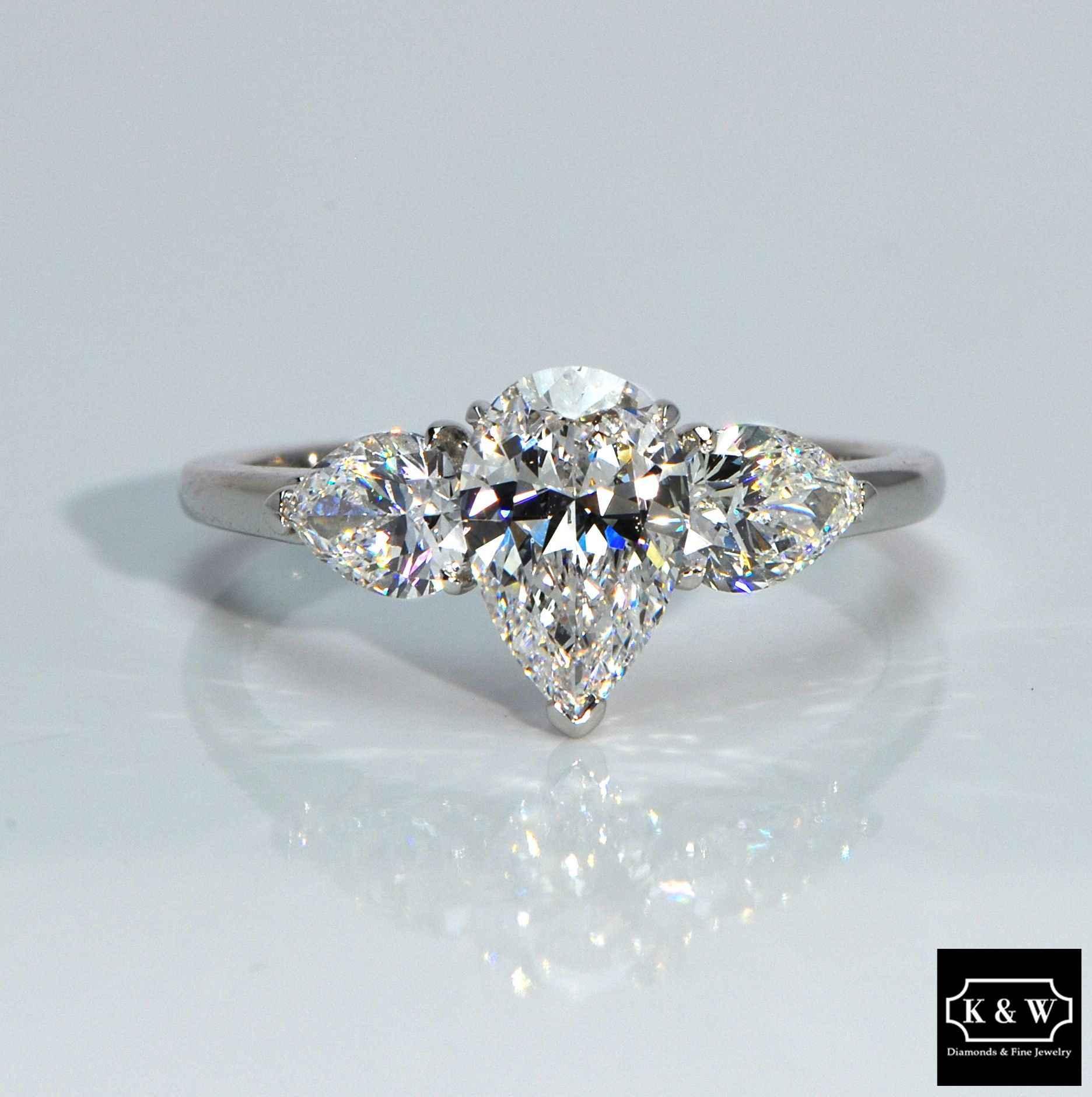 This ThreeStone PearCut DiamondRing Has An Intensity Within It Like Fire And Ice IceThree Stone Engagement Rings