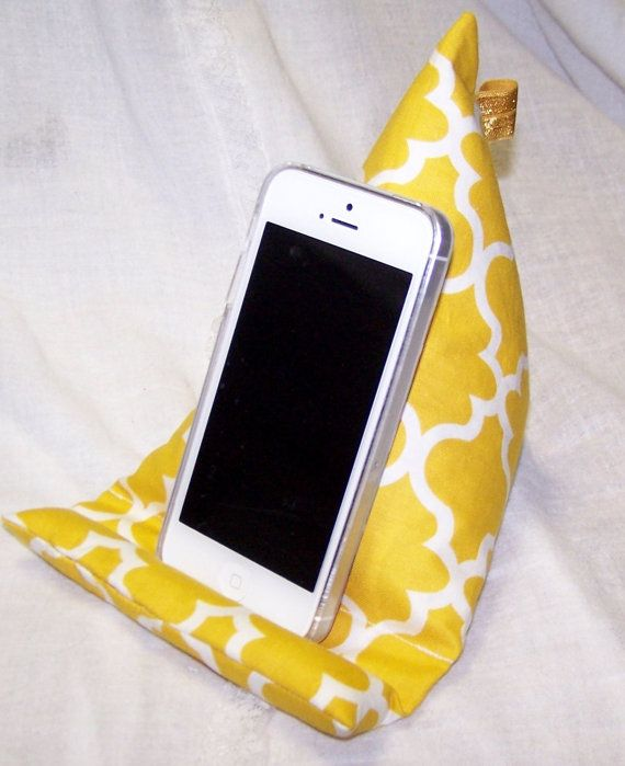 Phone Stand Phone Holder Yellow Fabric Pillow by