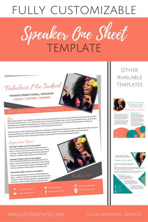 Speaker One Sheet Template BOXED  Public speaking, Writing a term