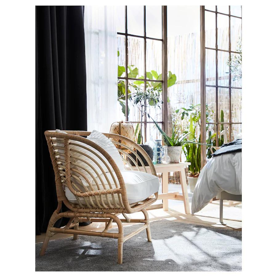 BUSKBO Armchair, rattan, Djupvik white IKEA in 2020