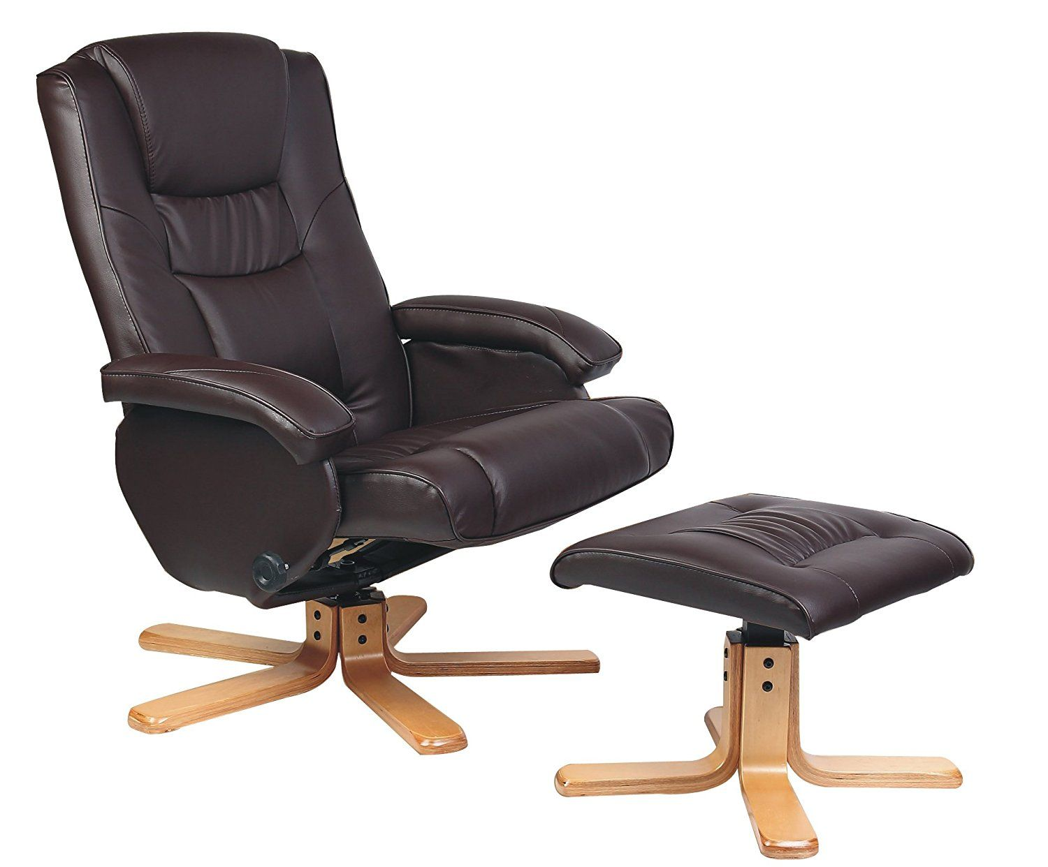 Birlea Nevada Faux Leather Swivel Chair With Footstool Brown Amazon Co Uk Kitchen Home Chair Swivel Chair Leather Swivel Chair