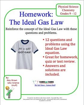 Gas Laws: Ideal Gas Law Homework | Ideal gas law, Chemistry class ...