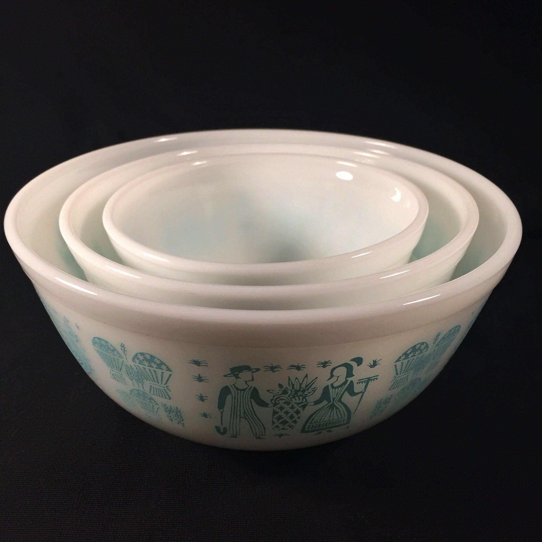 Pyrex Square Turquoise Large Bowl Pyrex Corning LoVe