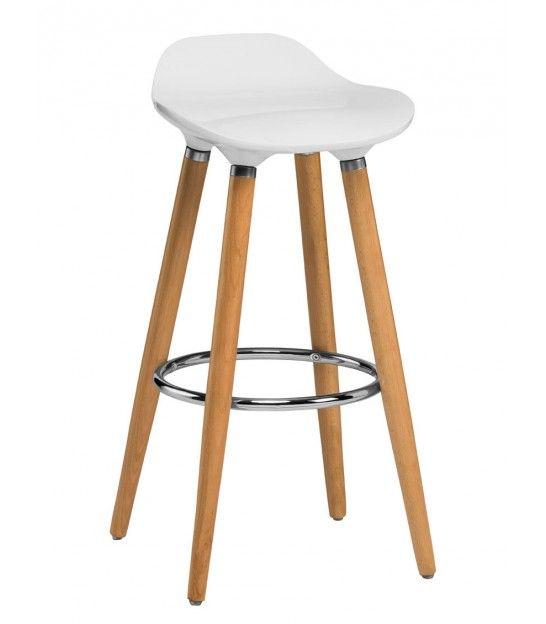 tabouret de bar blanc et bois design