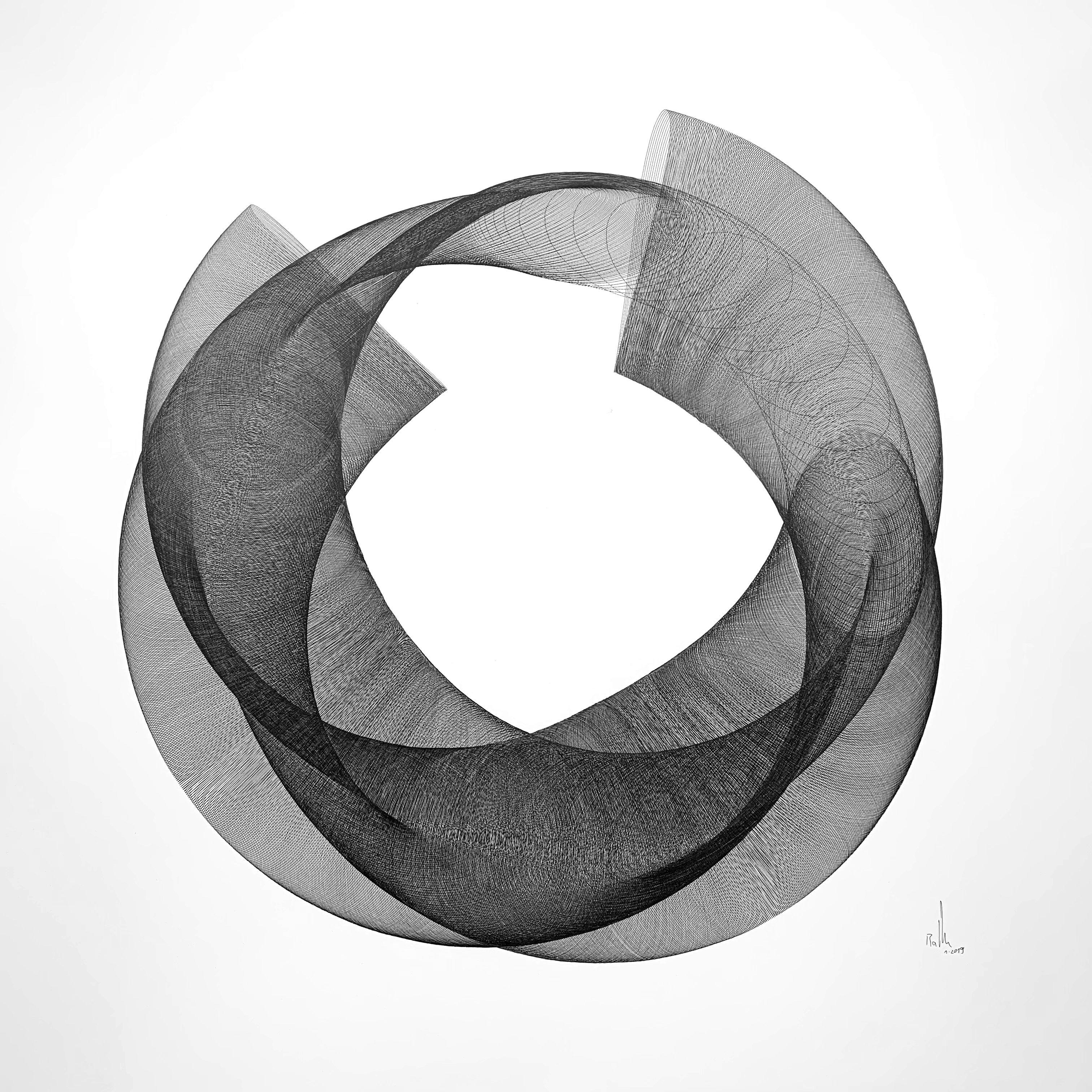 Ein sehr klares und doch tiefgründiges Design. Es wurde durch generative Auftrageverfahren auf einer Zeichenmaschine erstellt und durch menschliche Intervention in ein interessantes geometrisches Muster gebracht. Ähnliche Werke sind auch auf Robert Balkes Website zu sehen.