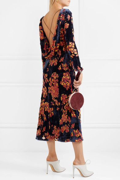 Tina Open-back Printed Devoré-velvet Midi Dress - Navy Saloni Wholesale Price Cheap Online Clearance From China Excellent Cheap Price Popular Cheap Online Cheap Sale Hot Sale mLBTtD