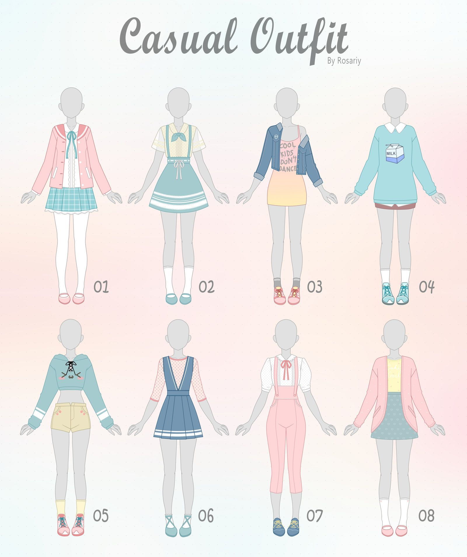 Open 1 8 Casual Outfit Adopts 23 By Rosariy Fashion Design Drawings Fashion Design Sketches Casual Art