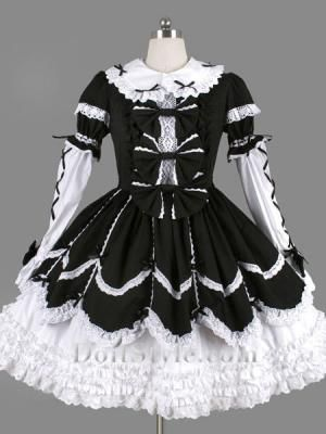 black and white lace tie ruffles gothic lolita dress