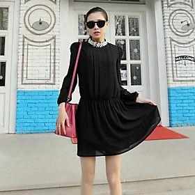 Women's Casual/Party Micro-elastic Long Sleeve Above Knee Dress (Chiffon)