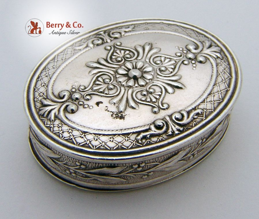 Oval Repousse Pill Box Sterling Silver 1890