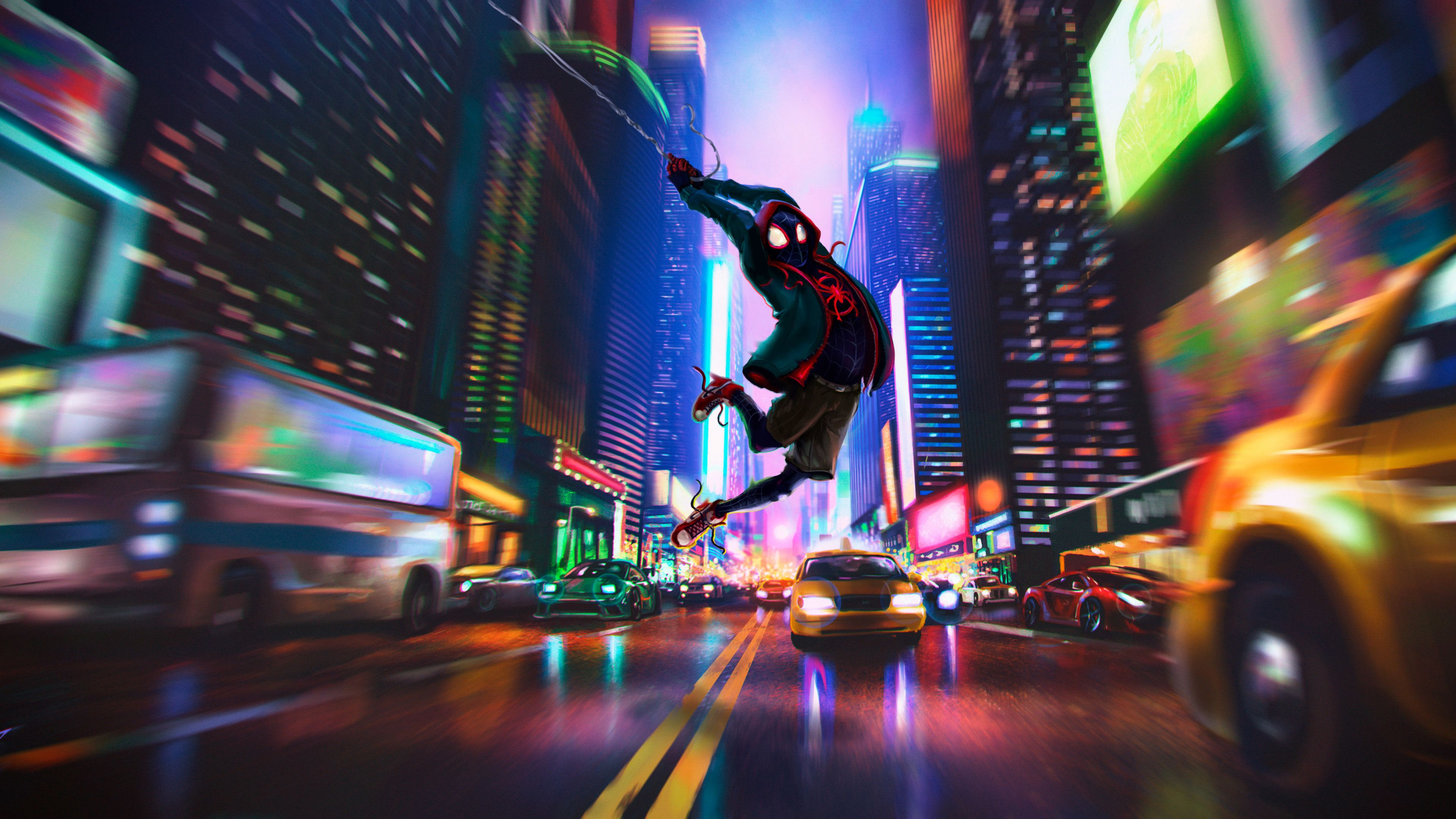 Spider Man In Spider Verse 4k Superheroes Wallpapers Spiderman Wallpapers Spiderman Into The Spider Verse Wallpap Verse Artwork Spider Verse Marvel Wallpaper