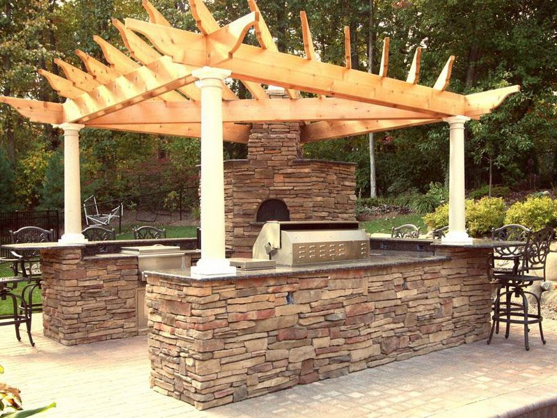 Find Another Beautiful Images Roof Built Rustic Outdoor Kitchen