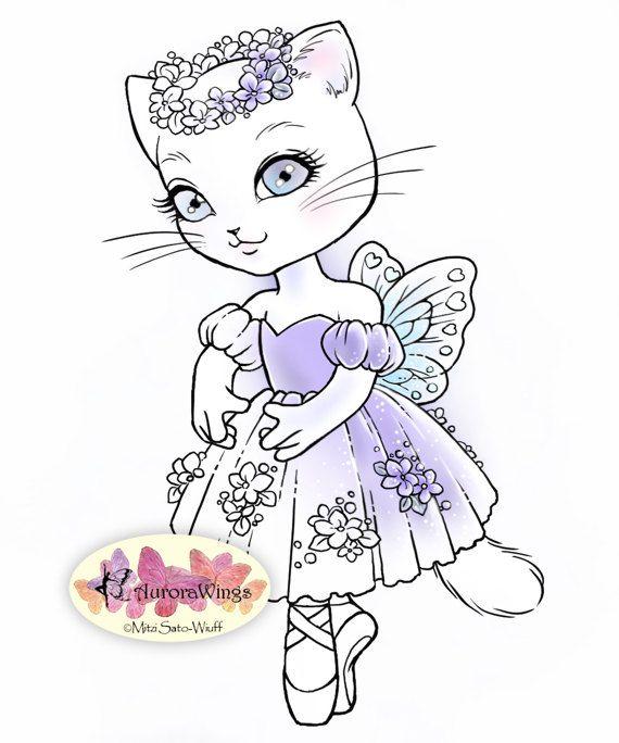 Digital Stamp Ballerina Kitty 2 Instant Download Ballet Cat Digistamp Cute Animal Line Art For C Digital Stamps Ballerina Coloring Pages Dance Crafts