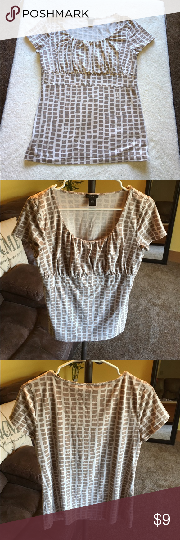 Ann Taylor pattern top Ann Taylor short sleeve top with beige and cream square pattern. Slightly pleats around the neckline. Size large. Material is 95% cotton and 5% spandex so it's slightly stretchy. Ann Taylor Tops Blouses